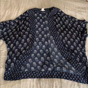 Navy Blue Kimono Top